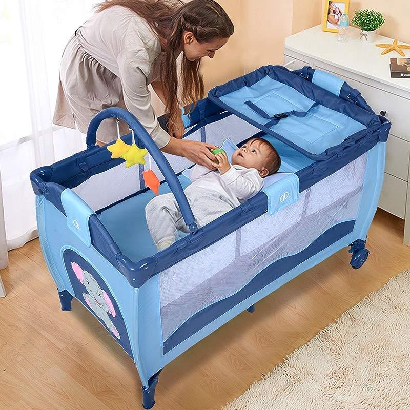 New Blue Baby Crib Playpen Playard Pack Travel Infant Bassinet Bed Foldable