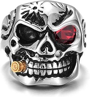 خاتم جمجمة دراجة نارية من الفولاذ المقاوم للصدأ للرجال مقاسات متعددة لاختيار خواتم الرجال والنساء (اللون: أحمر، الحجم: 10)
