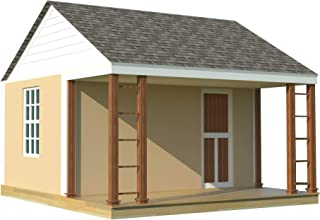 1 Room Cabin Building Plans - Guest House DIY Garden Micro Cottage