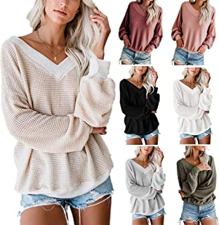 Women's V Neck Long Sleeve Waffle Knit Top Off Shoulder Pullover Sweater Casual Sweater