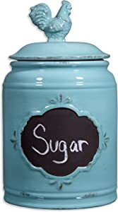 Ceramic Aqua Jar with Rooster Finial Lid & Chalkboard, Single Canister, Classic Vintage Design for Flour, Sugar, Cookies - 62oz.