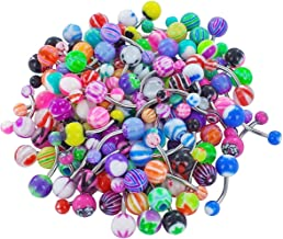 Bluelans 30x Colorful Sexy Belly Button Bar Navel Barbells Rings Body Piercing Jewellery Gift (Random Color)