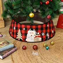 Orgrimmar Red&Black Plaid Christmas Tree Collar Christmas Tree Skirt Base Cover Xmas Party Home Decoration