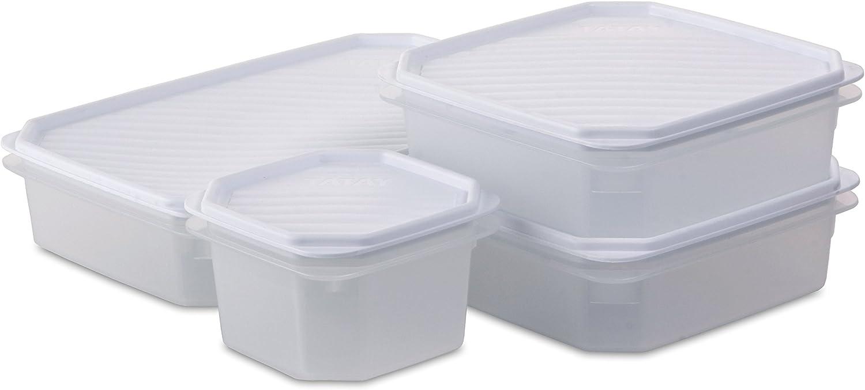 Tatay Set de 4 Fiambreras de Alimentos (1 x 2.1L, 2 x 1.3L, 1 x 0.6L), Tapa Flexible a Presión, Libre de BPA, Apto Microondas y Lavavajillas, Color Blanco