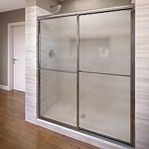Basco Deluxe Shower Door Framed Obscure Glass Sliding Door, Silver