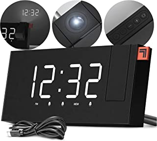 SHARPER IMAGE Projection Alarm Clock, Project The Time on Wall or Ceiling, Digital Display, Dual Alarms with FM Radio Function, USB Passthrough to Charge Devices, Backup Battery, 120 Degree Rotation