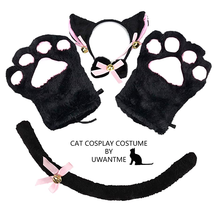 UWANTME Cat Cosplay Costume Kitten Tail Ears Collar Paws Gloves Anime Lolita Gothic Set