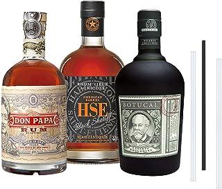 Don Papa Rum, Botucal Reserva Rum und HSE Black Sheriff Rum - Das 33 Rum Set, inkl. 3 Glasdrinkhalme 3x0,7l