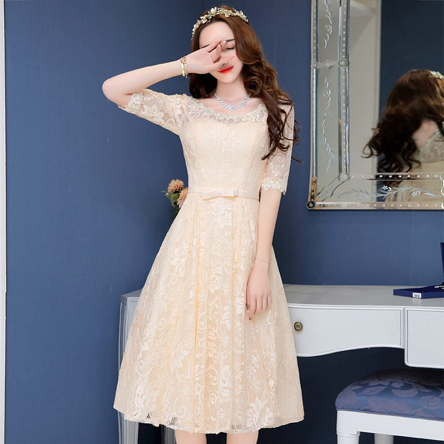 DHG Modern Bride Dress in The Long Section of Lace Round Neck Sleeve Dress Dress Dress Wedding Dress