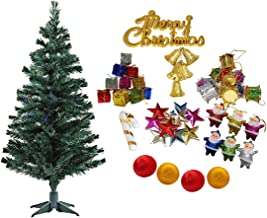 Christmas Xmas 5 Feet tree with 88 decoration ornaments for Home Decoration- X-mas Tree for Christmas Décor With Props- Home Office Living Room Décor- Christmas Decoration - Christmas Gifts Tree with plastic Stand (Green) 5 ft + 88 decoration ornaments COMBO