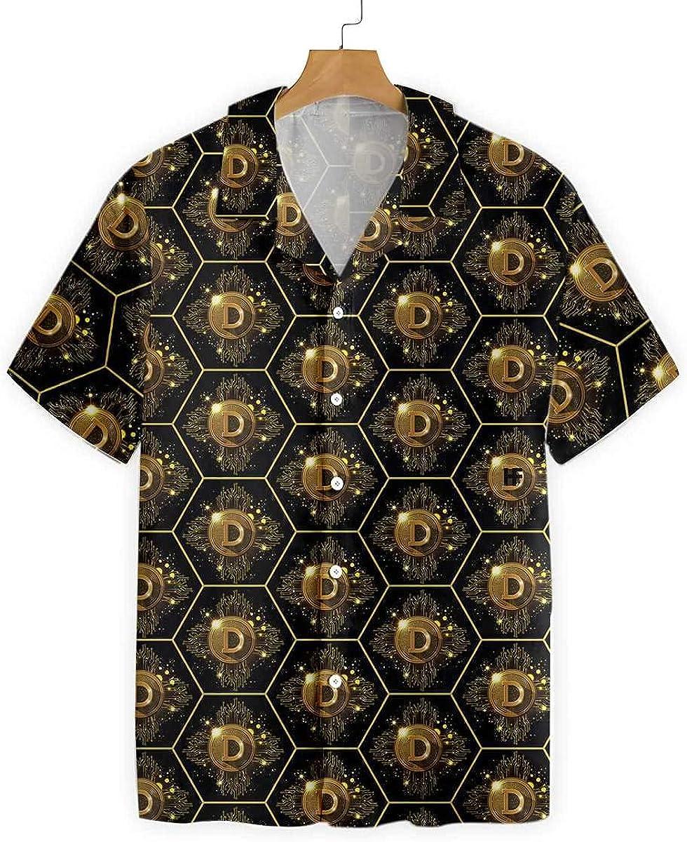 HYPERFAVOR Bitcoin Shirt - High Tech Dogecoin Seamless Pattern- Casual Short-Sleeve Bitcoin Hawaiian Shirt for Men