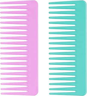 Wide Tooth Comb for Long Hair, Curly Hair, Wet Hair, No Handle Detangler Comb Styling Shampoo Comb (2 Pieces - Rose red, C...