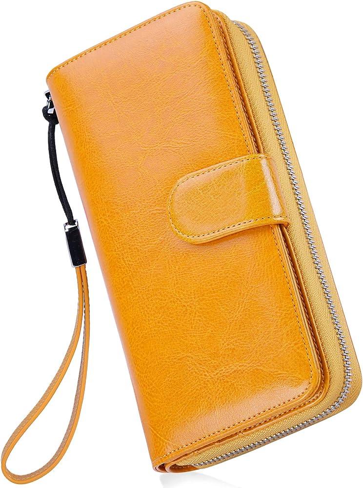 Newhey, portafoglio da donna, porta carte di credito, porta cellulare , in pelle cerata GIALLOA