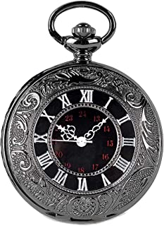 SwitchMe Classic Pocket Watch Quartz Japanese Movement with Belt Clip Chain