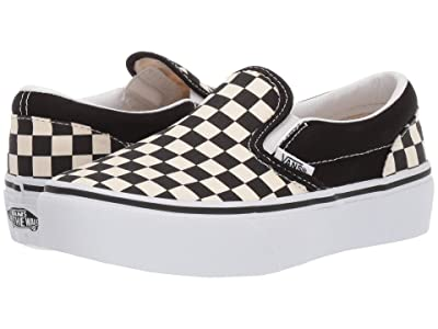 Vans Kids Classic Slip-On Platform (Little Kid/Big Kid) (Black & White Checker/White) Girls Shoes