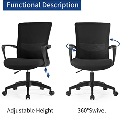 Amazon.com: AmazonBasics Mid-Back Desk Office Chair with