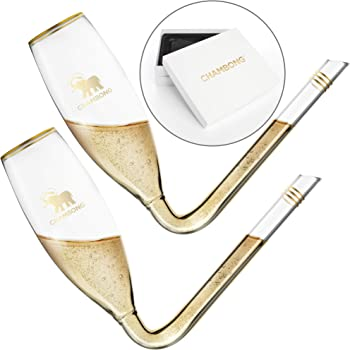 CHAMBONG – Classic Size, 2 Pcs Glass with Gold Accents and Premium Gift Box – Large Champagne Shooter Glass Flute – Fun Party Favor, Bachelorette, Bridesmaids Gifts, Drinking Game