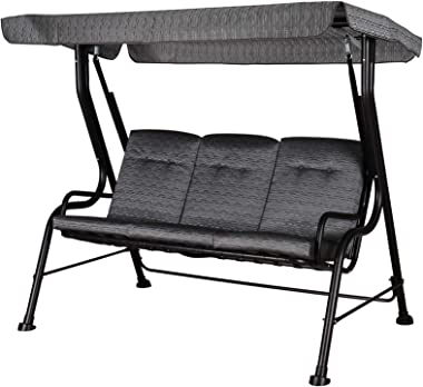 Outsunny Outdoor Patio Porch Swing Bench with Included Adjustable Shade Awning & Comfort Padded Seating for Three People