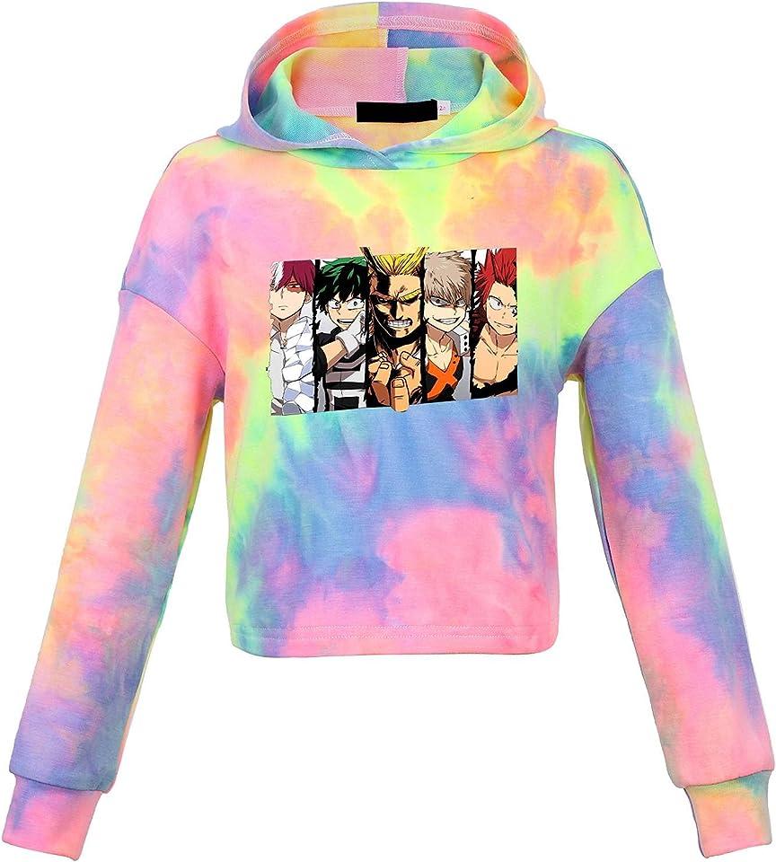 My Hero Academia Hoodie Kids Girl Tie Dye Hoodie Children's Hooded Crop Tops Long Sleeve Sweatshirt for Kids Girls Boys