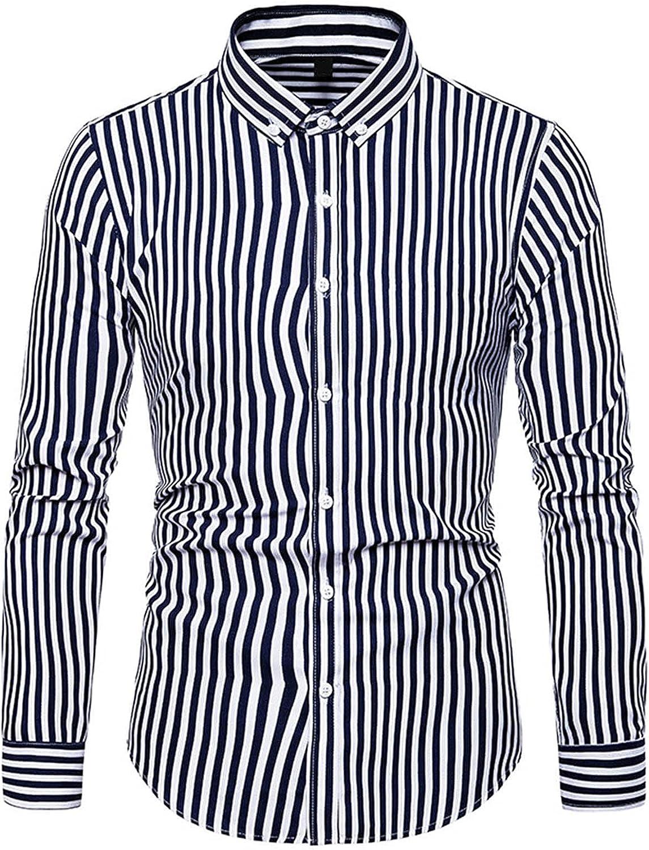 Men's Classic Plaid Button Down Business Dress Shirt Casual Fashion Slim Fit Long Sleeve Work Shirts Tops