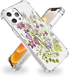 POZAJI Compatible with iPhone 12 Pro Max Clear Case, TPU Material Protective Case,Bluebell Pattern,6.7 Inches