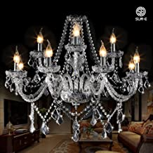 SUN-E Vintage Crystal Candle Classic Spiral Glass Pendant Ceiling Fixture Lamp Maple Leaf Shape K9 Crystal Candle Chandeliers (Detailed Instructions) (8+4 Lights)
