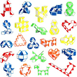 Ganowo 24 Pack Fidget Snake Cube, Mini Twist Puzzle Party Bag Fillers Toys for Kids Teens Birthday Party Favors Supplies, ...