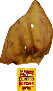 The Country Butcher Pig Ear Dog Chews, Made in USA, Natural Long Lasting Dog Treats, Rawhide Free, 5 Count