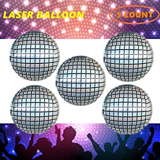 5 Count Disco Laser Balloons 22'', 70's Mirror Retro Dance Party Decorations (Laser Disco)