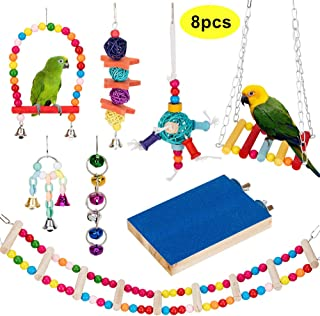 AsiFancy Bird Parrot Toys,  Bird Swing Hanging Toy,  Bird Cage Toys Hammock Bell Swing Ladder Perch Chewing Toys for Parrots,  Parakeets Cockatiels,  Conures,  Macaws,  Love Birds,  Finches