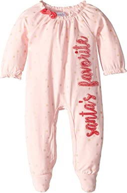 Santa's Favorite Long Sleeve Footed Christmas One-Piece (Infant)