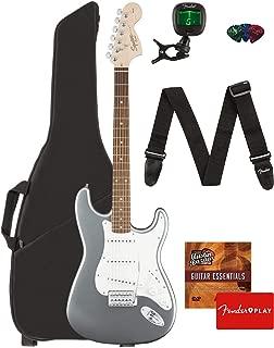 Fender Squier Affinity Series Stratocaster Guitar - Laurel Fingerboard, Slick Silver Bundle with Gig Bag, Tuner, Strap, Picks, and Austin Bazaar Instructional DVD