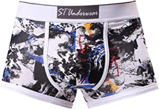 Greatfun Underwear Men Sexy Breathable Print Underwear Knickers Boxer Antibacterial Briefs Shorts Bulge Pouch Underpants Cotton Great Softness Cool Blue