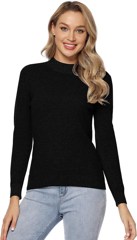 LANPULUX 100% Merino Wool Sweaters for Women Pullover Mock Neck Long Sleeve Lightweight Tops