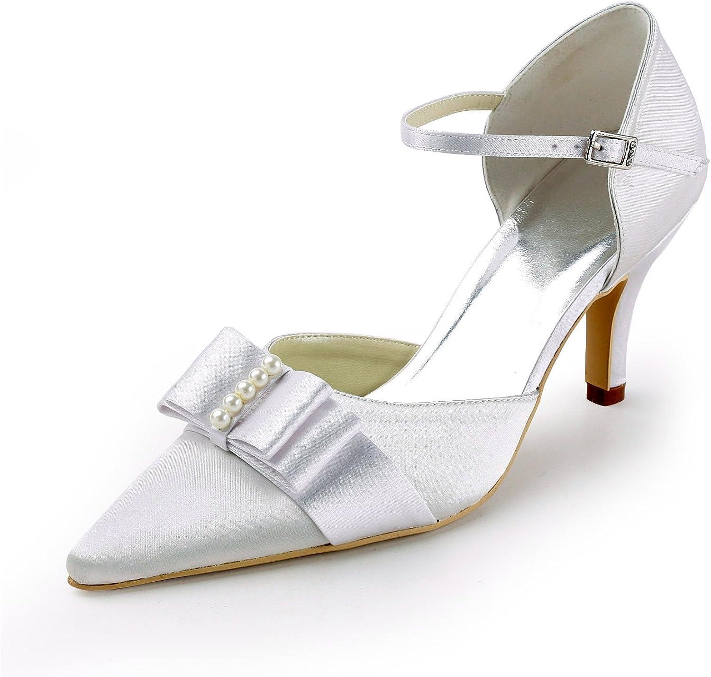 Minishion TMZ340 Women's Single-Strap Satin Bridal Wedding Evening Formal Party Pumps shoes