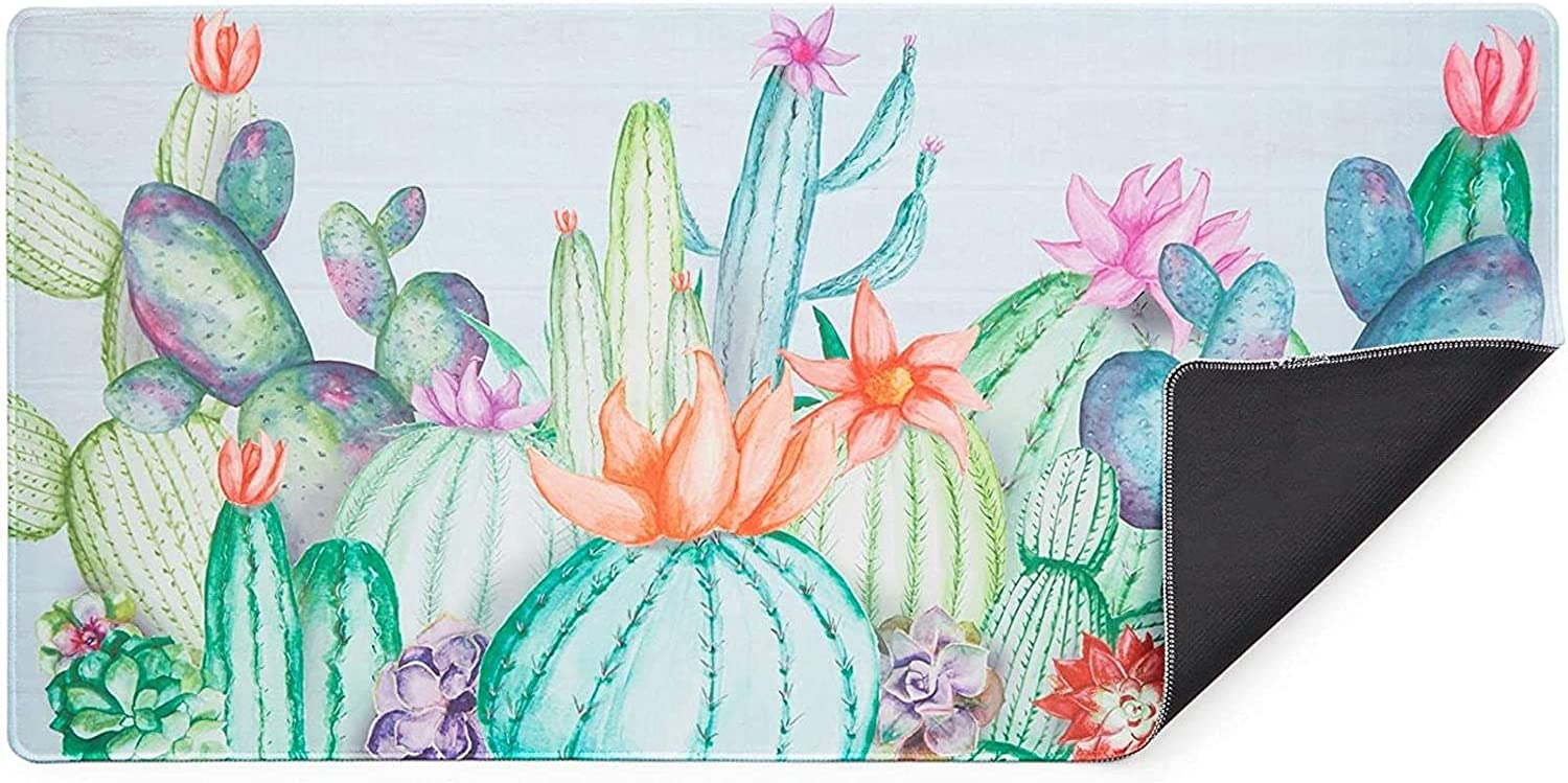 Office Desk Pad Protector, XL Mousepad for Cactus Office Supplies (31 x 15 Inches)