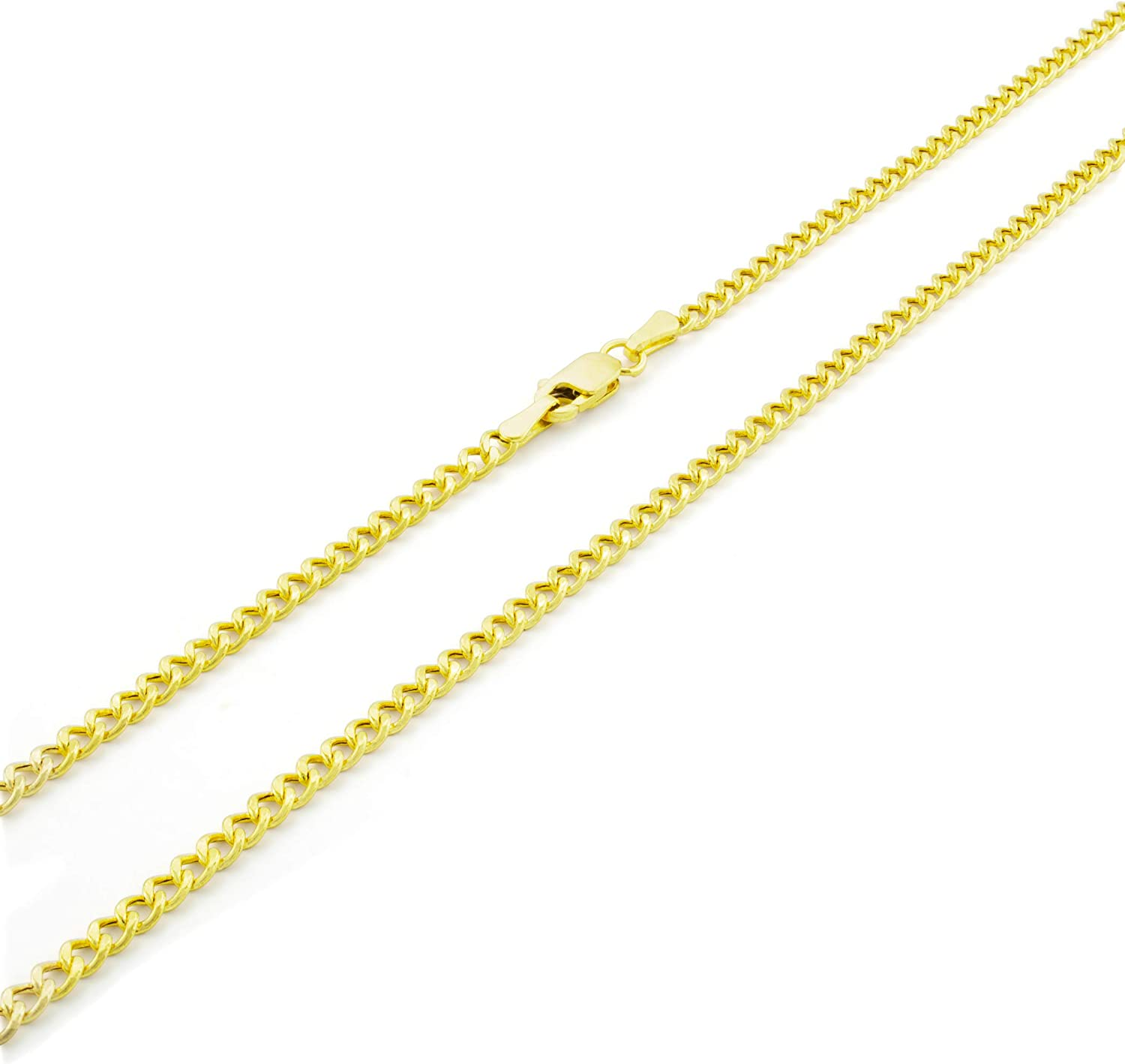 Nuragold 10k Yellow Gold 2.5mm Cuban Curb Link Chain Pendant Necklace, Mens Womens Lobster Lock 16