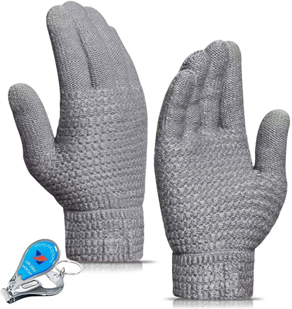 KXF Winter Knit Gloves for Men and Women Warm Touchscreen Thermal Soft Lining Thickened Elastic Cuff