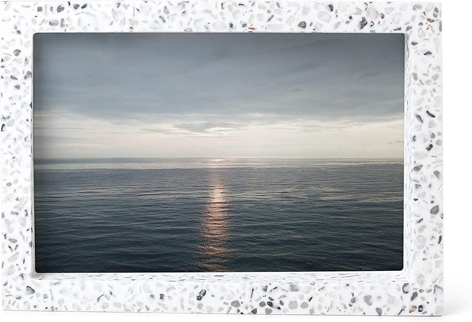 Umbra Edge Resin Picture Frame and Photo Display for Desk or Table Top, 4x6, Terrazzo