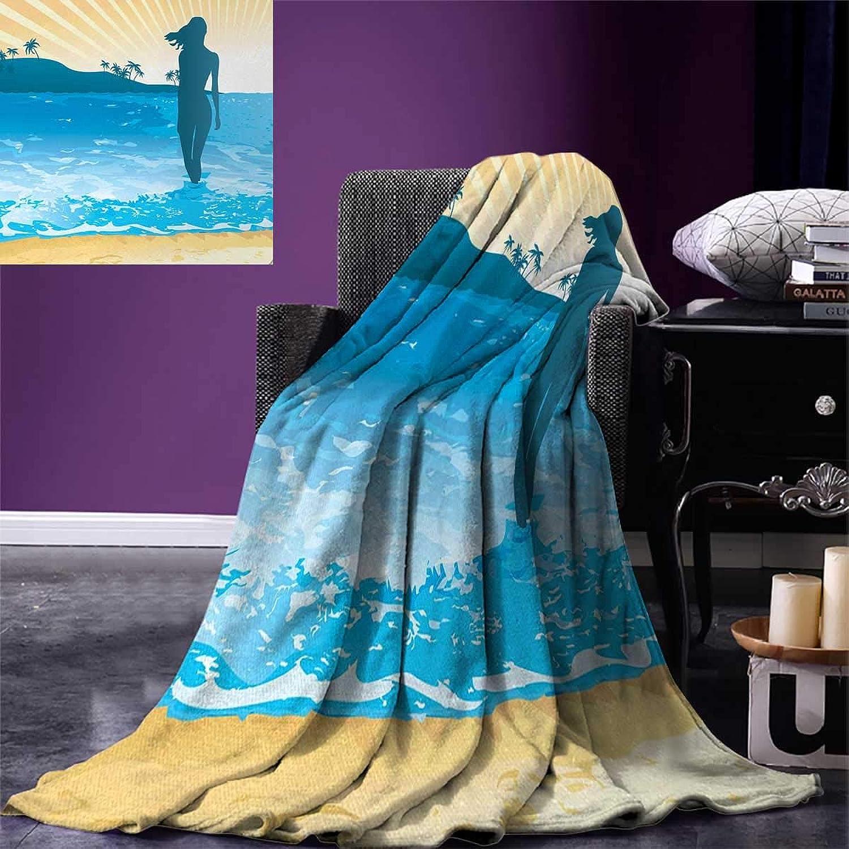 Anniutwo Beach Travel Throw Blanket Summer Vibes Girl Near The Sea Shore Ocean Palms Waves Sunny Art Print Velvet Plush Throw Blanket 60 x50  Sky bluee Cream Slate bluee