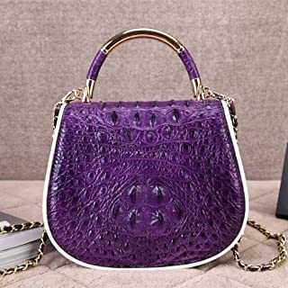 ZXF European and American Leather Handbags Leather Shoulder Diagonal Ms. Phone Package Handbag Chain Bag Small Fragrant (21 * 8 * 18cm) Beautiful and Fashionable Handbag (Color : Purple)