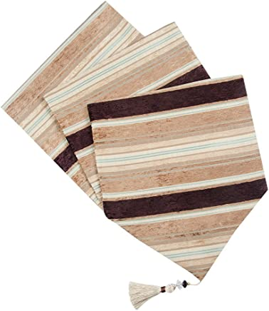 """Top Finel Table Runners Colorful Stripes - Cotton Canvas Fabric Table Top Tassels Decoration Home Decor for Outdoor Wedding Party 13"""" W x 71"""" L, (33*180 cm), Light Brown"""