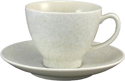 リサイクルエコ陶器Pokela コーヒーカップ &ソーサー白雪 AM-YM044