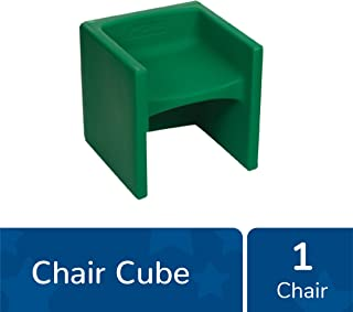 """Children's Factory Cube Chair, 15"""" by 15"""" by 15"""" – Green – Versatile - Use as a Low or High Chair, Table and Adult Seat – Durable and Lightweight – Indoor or Outdoor Use (CF910-011)"""