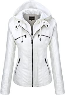 8c0e100b445 Tanming Women s Removable Hooded Faux Leather Jackets