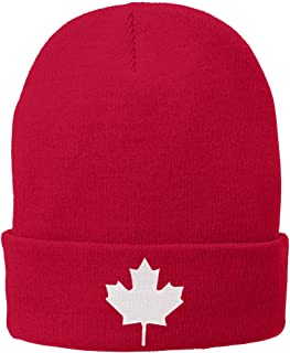 Canada Maple Leaf Embroidered Winter Cuff Long Beanie - White Flag