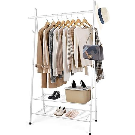 Portant Vêtements - Amzdeal Porte-manteau avec 2 étagères et 4 crochets latéraux ,162x 45 x 106cm, charge totale 125kg, Portemanteau multifonctionnel, pour chaussures et boîtes de rangement, blanc