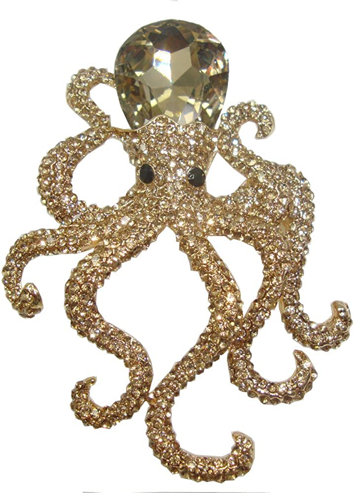TTjewelry Vintage Octopus Topaz Austria Crystal Pendant Brooch Pin Animal Gold Tone