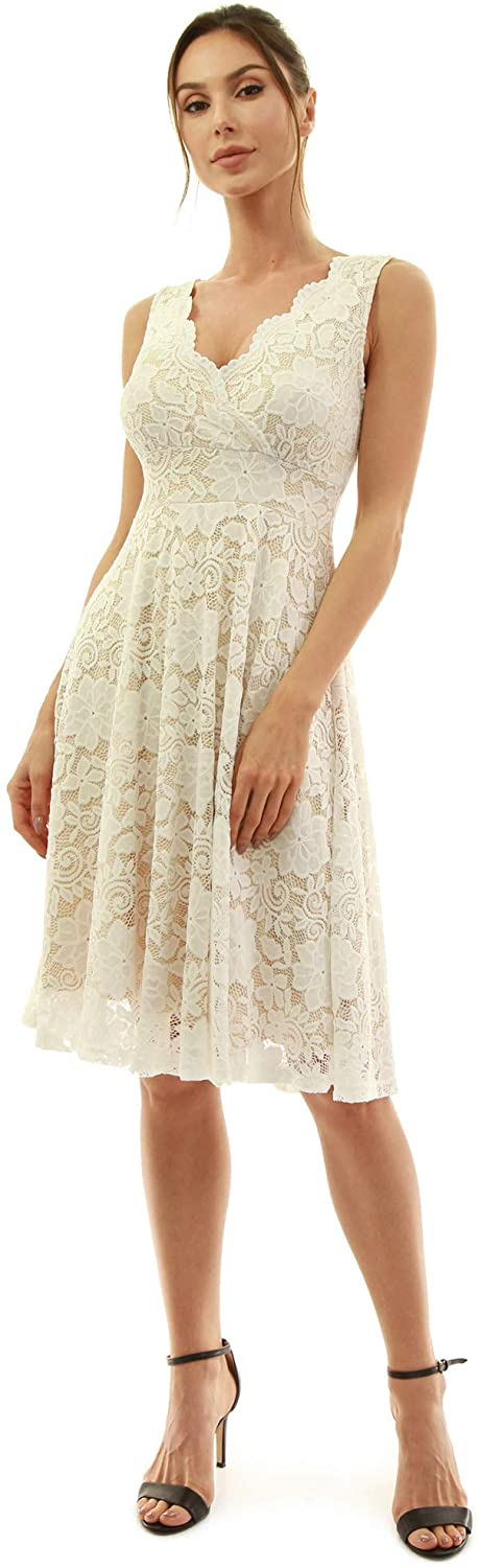 AmélieBoutik Women Floral Lace Overlay Fit and Flare Dress