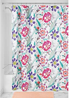 "iDesign Painterly Floral Fabric Shower Curtain - 72"" x 72"", Bright/Multi Color"